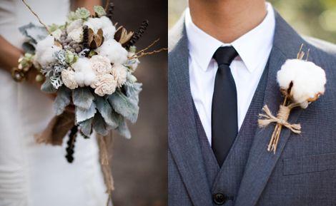 уютный букет невесты с хлопком для зимней свадьбы