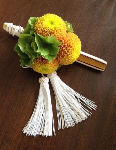 традиционный японский букет невесты с веером