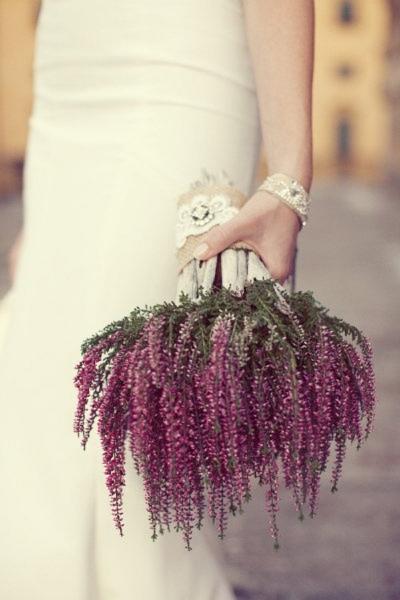 нежный свадебный букет из вереска