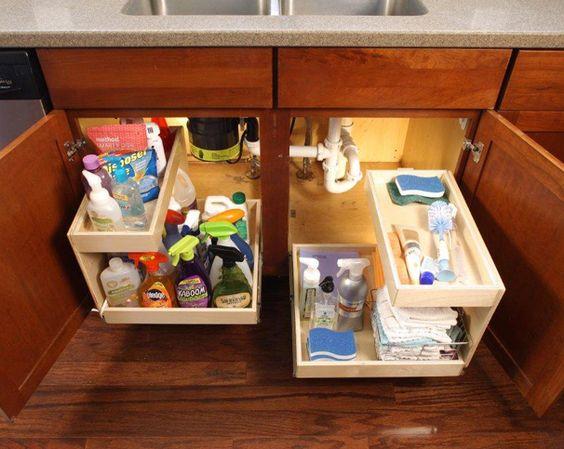 организация пространства в шкафу под раковиной  источник