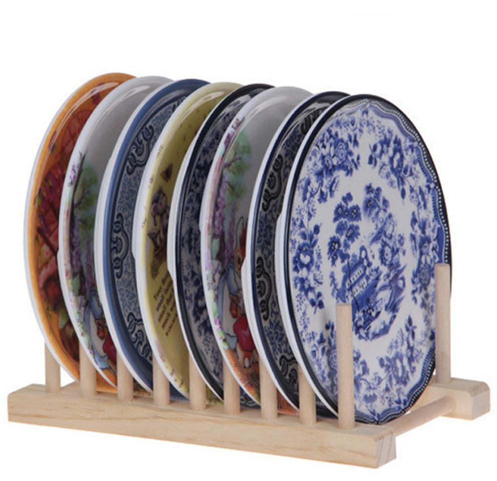 деревянная подставка для тарелок