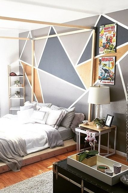 акцентные стены с крупным геометрическим рисунком  источник
