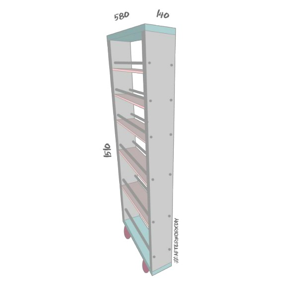 - The space between our fridge and the side wall was 16 cm. 1 cm on each side is enough for the shelf to roll in and out freely. So we subtract 2 from 16 and get 14 cm (or 140 mm).This will be pantry's WIDTH.Measure the depth from the face of the fridge to the back wall. Ours was 58 cm (or 580 mm).That's the DEPTH of our pantry.If there are anything at the back that might get in the way of your rolling shelf, like wires, sockets or gas tubes, make your pantry's depth shorter.The HEIGHT of our pantry was supposed to be exactly the same as the height of our fridge. That makes 151 cm (or 1510 mm).You of course will have different measurements based on the actual space you're building it in.