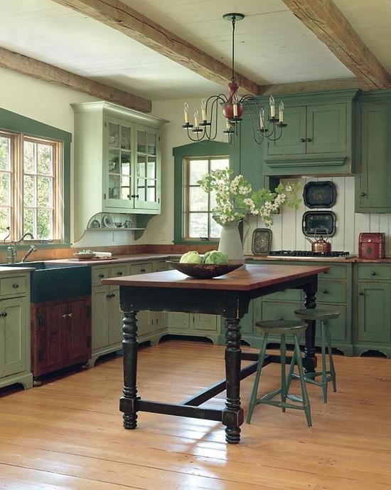 кухня в зеленых тонах  источник