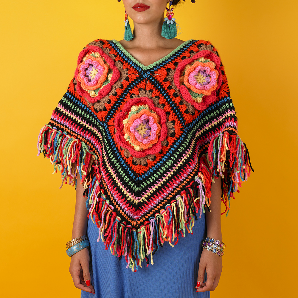 FLOWER PATCH PONCHO - KAHLO COLLECTION