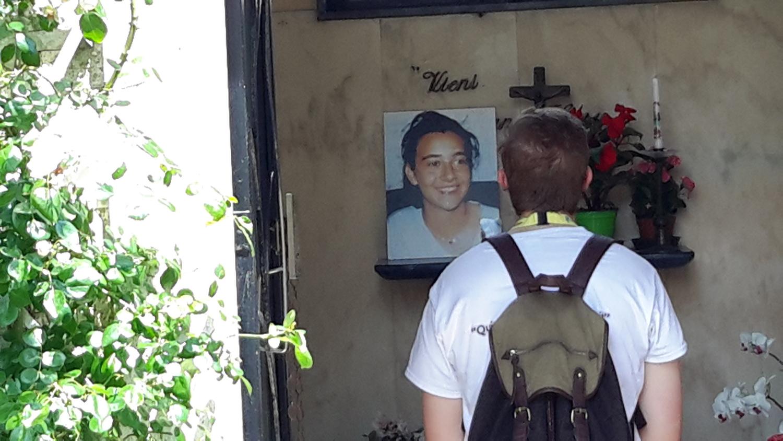 Richard, praying at the tomb of Bl Chiara Badano