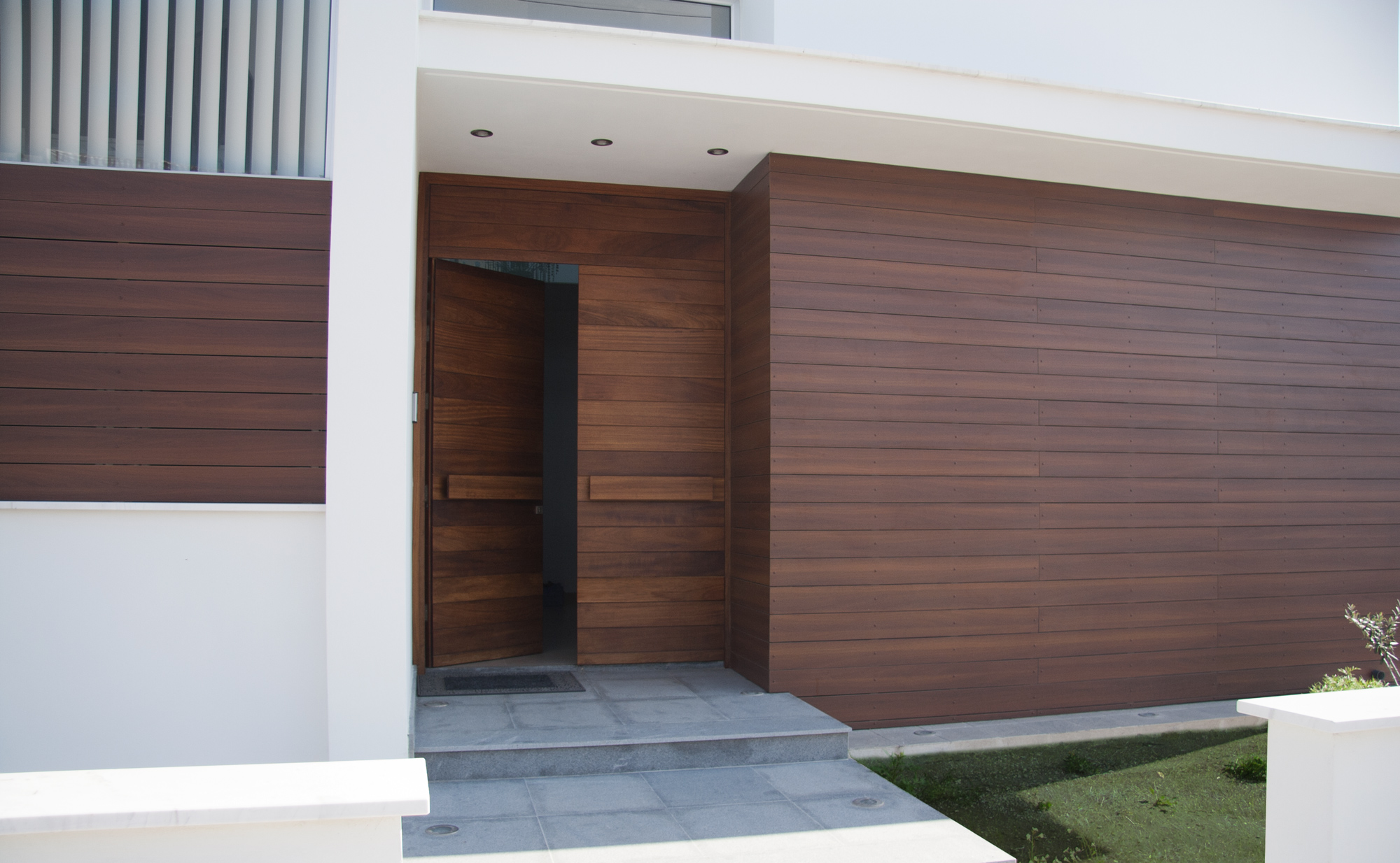 Entrance door iroko wood