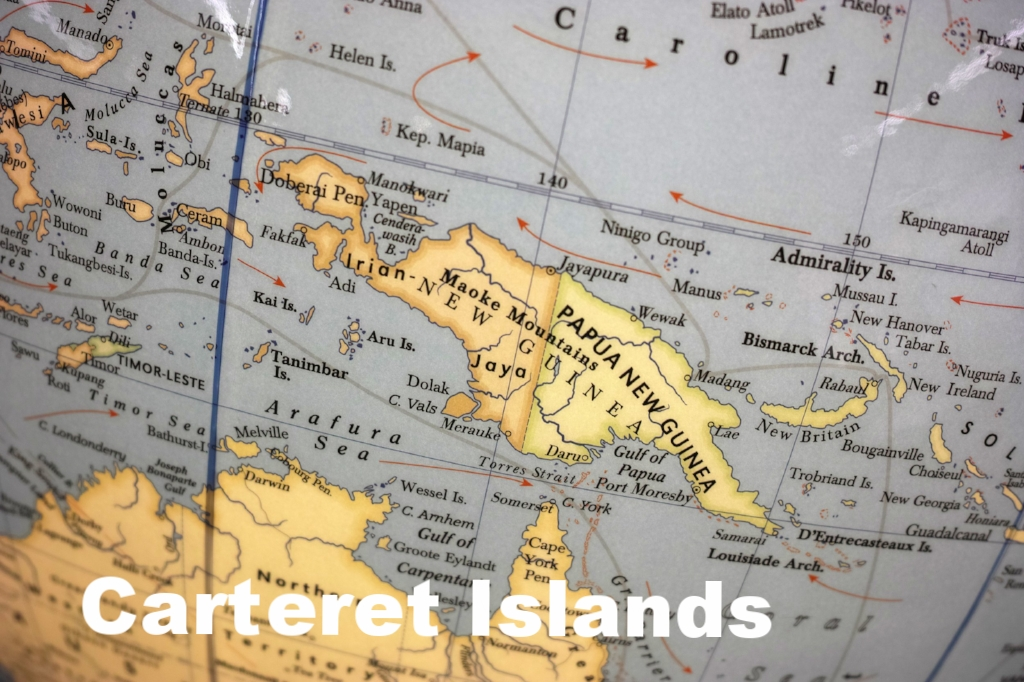In 2007, the Papua New Guinea and Bougainville governments agreed to resettle the 6000 inhabitants of the Carteret and three other atolls to the much larger island of Bougainville due to increasing land loss, saltwater inundation, and growing food insecurity. However,relocation has not started in earnest yet because there is not enough funding for building houses on Bougainville.