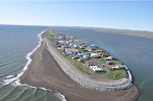 Communities across the U.S., like the Alaska native village of Kivalina pictured above, are devising climate migration plans in response to coastal erosion and rising seas. Photo from: U.S. Department of the Interior | National Park Service