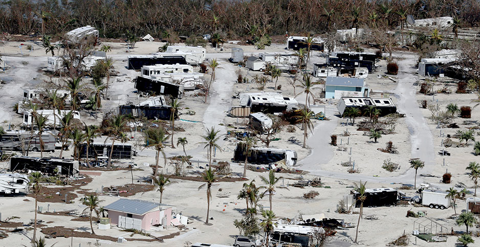Damaged homes seen on Sunshine Key, Fla., in the aftermath of Hurricane Irma. Mike Stocker/South Florida Sun-Sentinel via AP