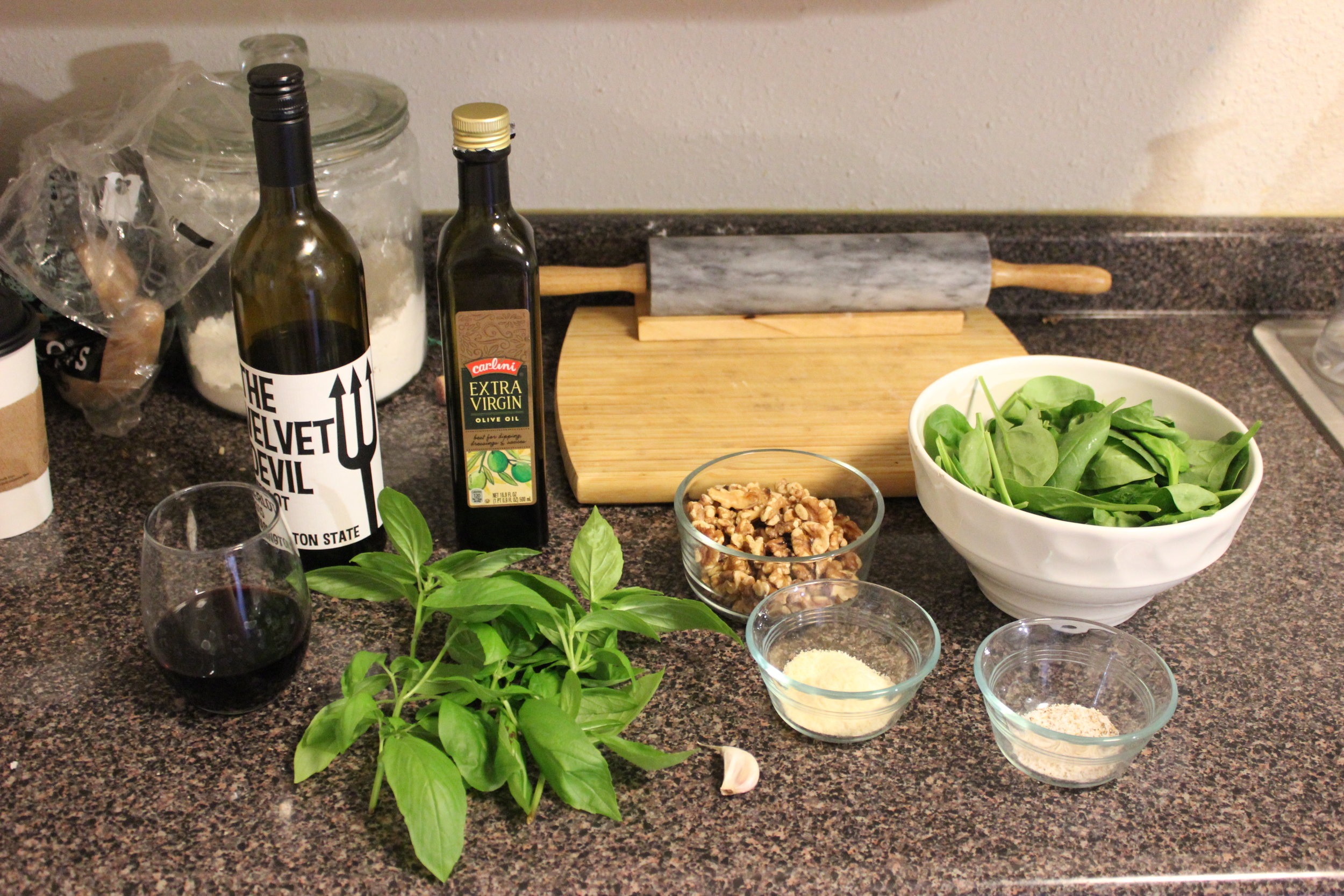 Behold! All that you need to make basil pesto!