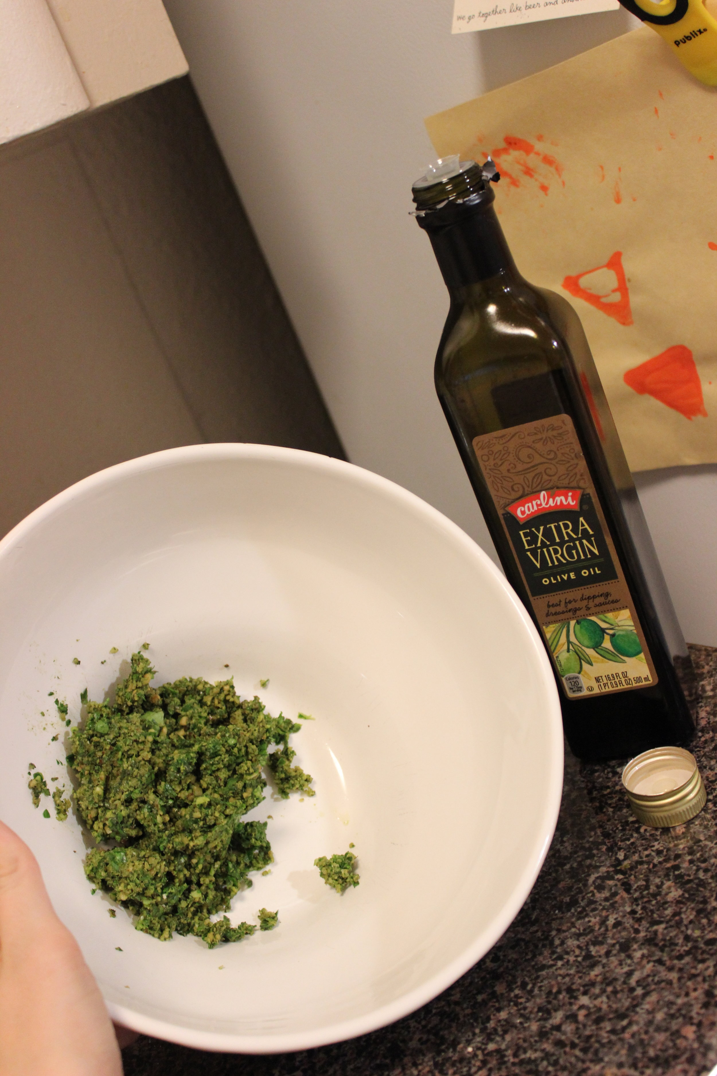 """Why no more food processor?"", I hear you all saying. Because we tend to use Extra Virgin Olive Oil, and for some reason it REALLY hates being mechanically blended. The best taste with this oil comes from stirring by hand."