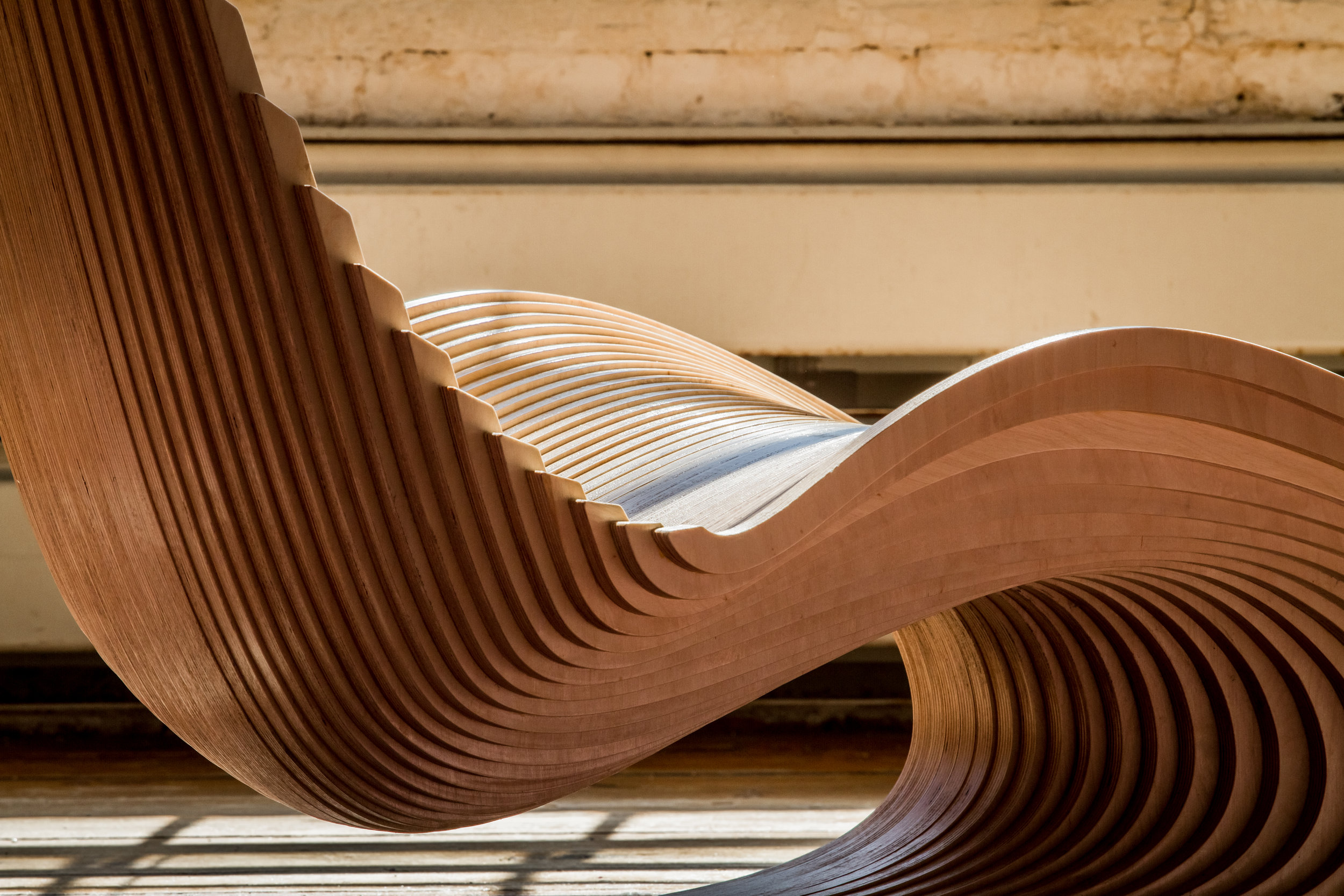 Ahmed El Husseiny/AE Superlab.  The Diwani Chair , 2015 (detail). Atlantic birch plywood.42 x 31 x 53 in.Courtesy of Ahmed El Husseiny/AE Superlab.2016.AES.01. Photo:  Ahmed ElHusseiny/AE Superlab  METHOD: CNC router, hand block sander