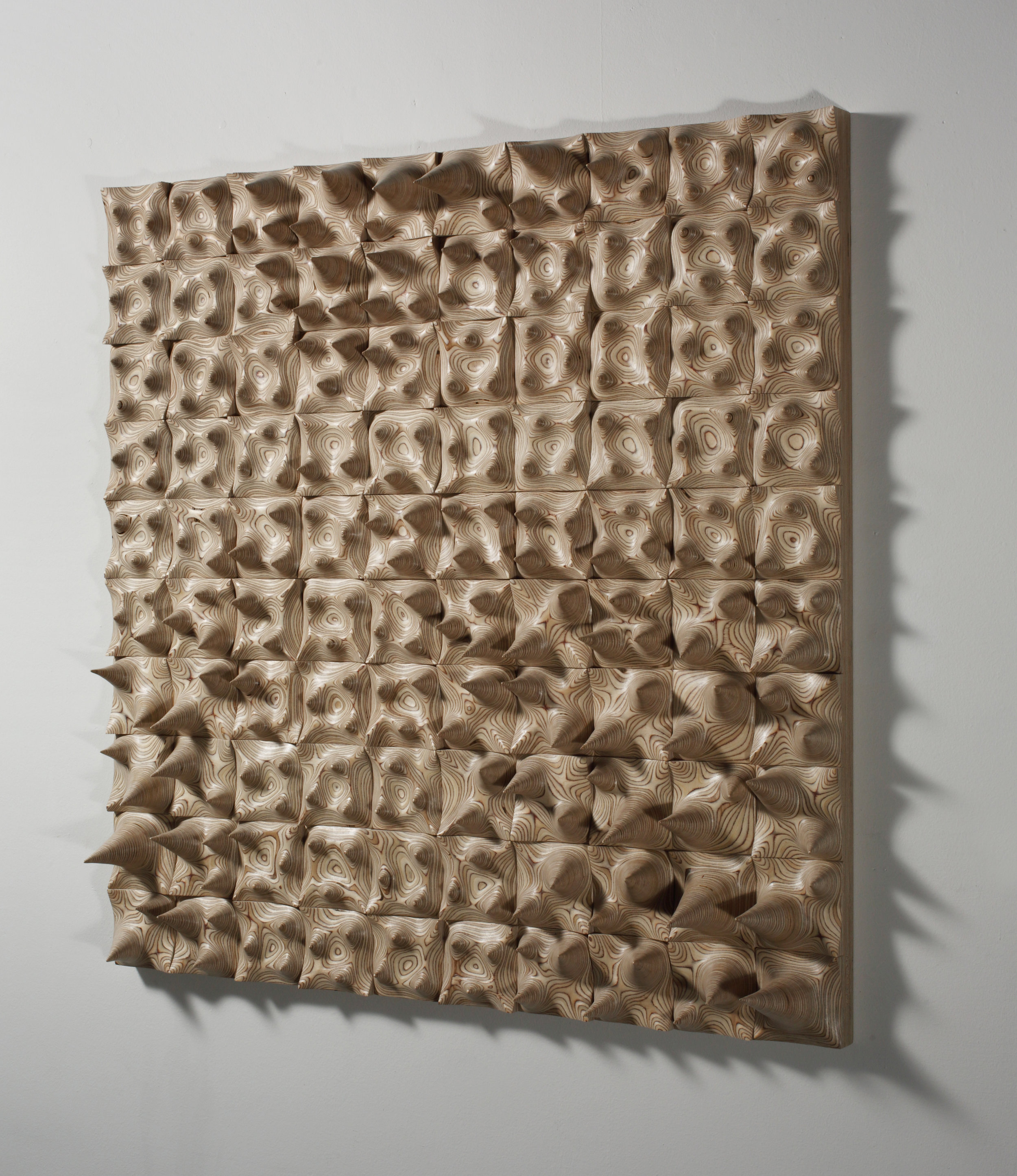 Jongrye Cha ,  Expose Exposed 130915 , 2013.Wood.44 x 44 x 6 in.Courtesy of Cynthia Reeves Gallery.2016.JC.01. Photo: Jeong Jinwoo, BauFoto,Courtesy of Cynthia Reeves Gallery  METHOD: Dremel/rotary grinders and other hand tools, hand sanding