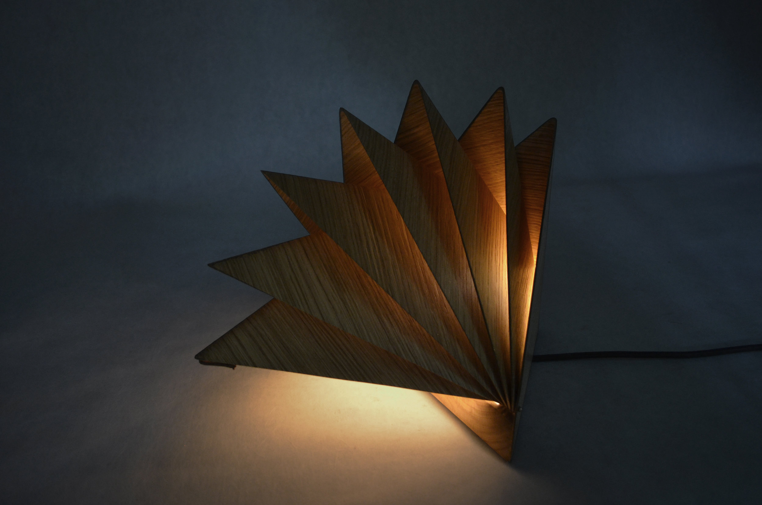 Klara Varosy  , Bloom , 2016.Solid oak, oak veneer, Plexiglas, leather, brass hardware, LED bulb & components.Closed: 9 1/4 x 13 1/4 x 8 1/2 in.Open: 15 x 13 1/4 x 10 in.Courtesy of the Artist.2016.KV.01. Photo: Courtesy of the Artist   METHOD:CNC (Computer Numerical Control router), laser cut, laser engraved, wet-bent, vacuum formed, handcrafted