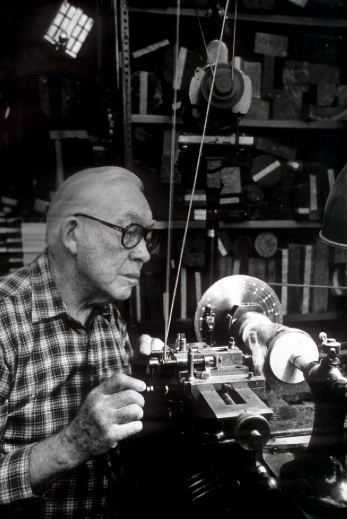 Fig. 2.  Frank Knox working on his Holzapfel lathe. Photo: The Center for Art in Wood's Fleur and Charles Bresler Research Library