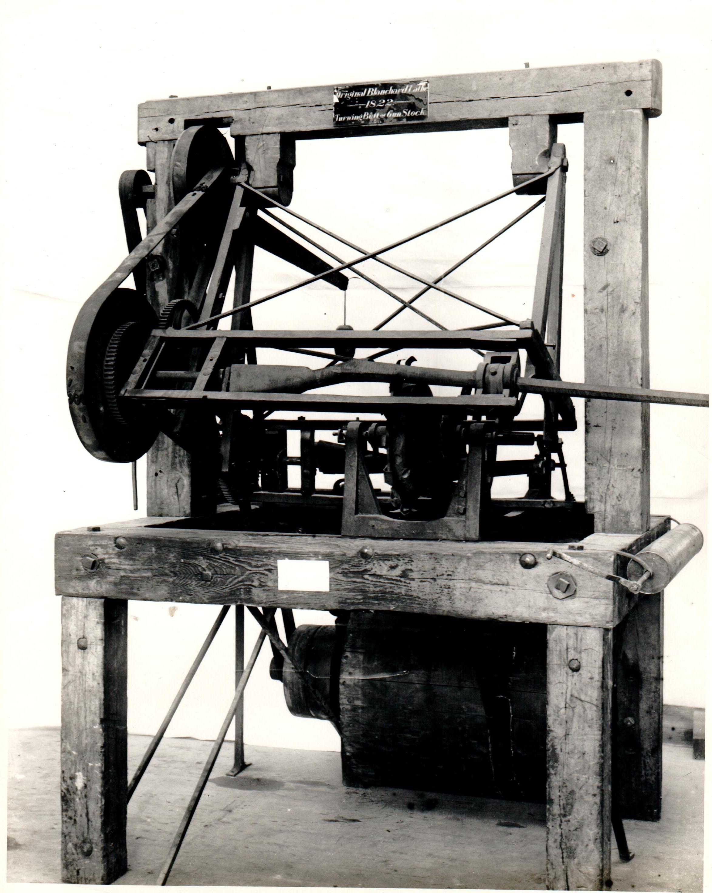 Fig. 5.  Thomas Blanchard, United States. Irregular turning lathe, c. 1825. Photo: Smithsonian Institution. Reprint for the Wood Turning Center's (now The Center for Art in Wood)  A Sampling of Papers from the 1993 World Turning Conference .