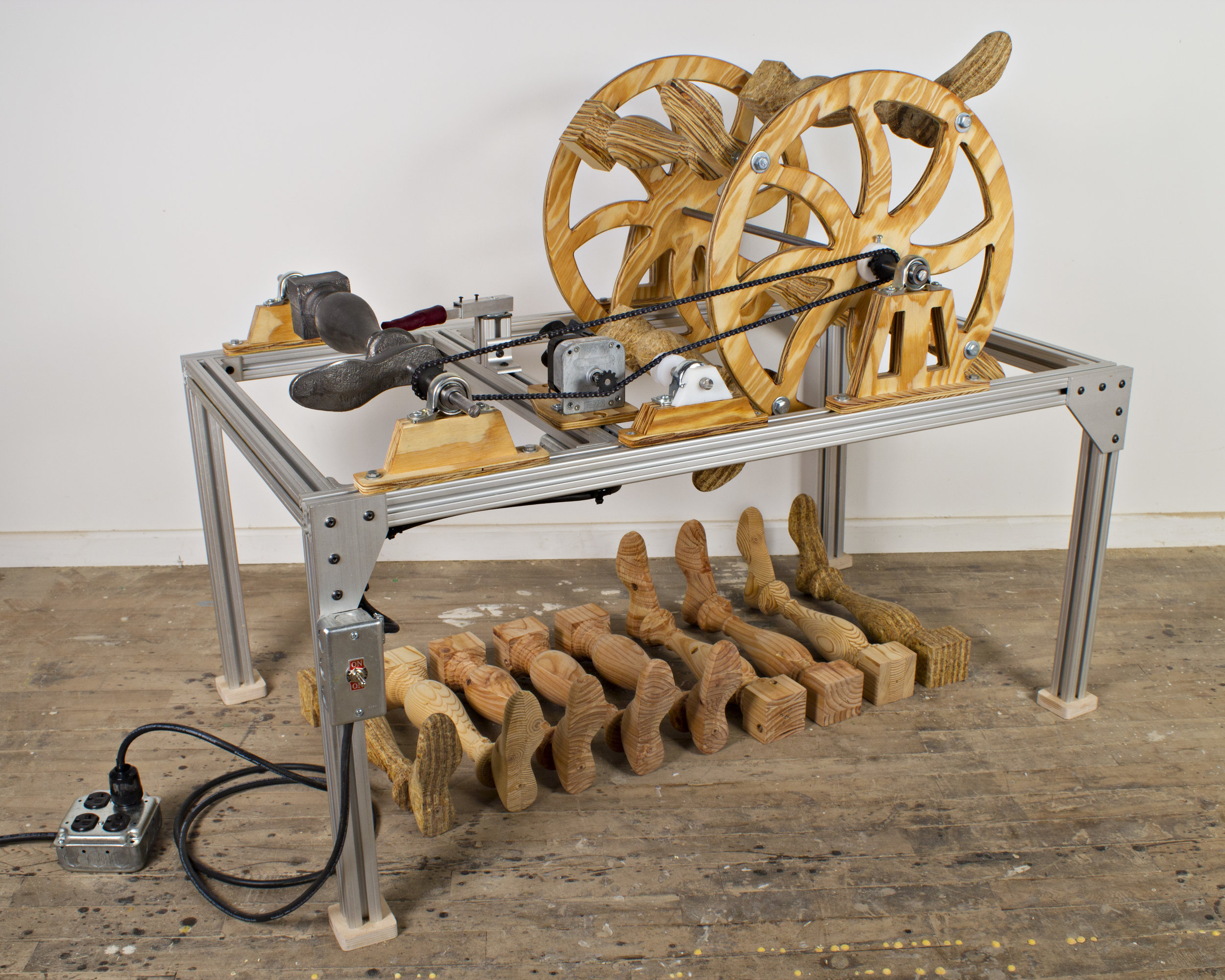 Fig. 6.  Lewis Colburn, United States.  Untitled (after Thomas Blanchard) , 2015. Cast iron, plywood, pine, oriented strand board, aluminum extrusion, cast urethane, steel, motor, hardware, and mechanical components. 36 x 44 x 26 in. Exhibited in The Center for Art in Wood's  Other Selections  exhibition May 1–July 18, 2015. Photo: John Carlano