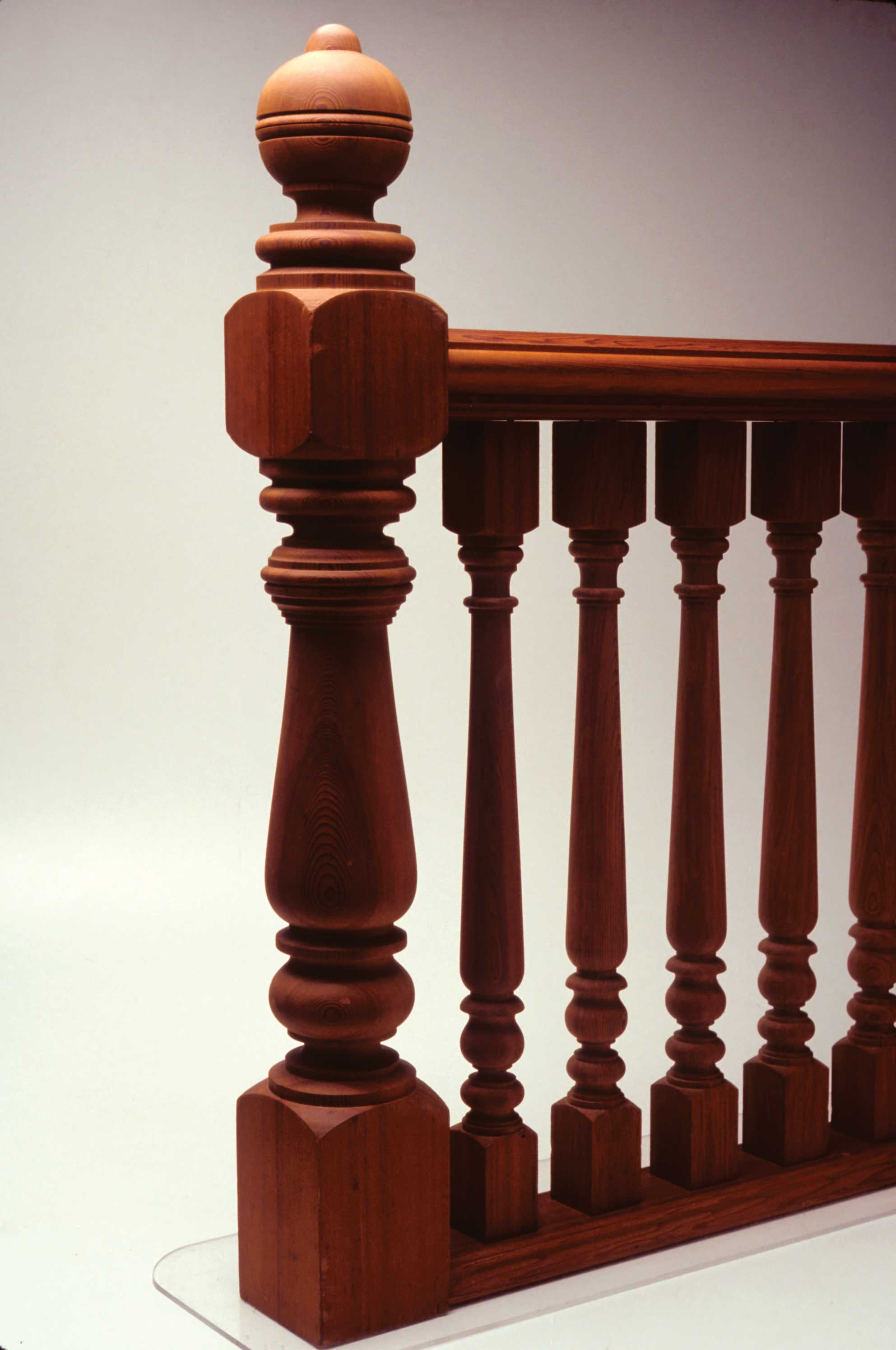 Fig. 8.  Gail Redman, United States.  Railing with Newel Post , 1983. Redwood. 44 1/2 x 5 1/2 x 39 1/2 in. Donated by the Artist.  The Center for Art in Wood's Museum Collection.  OBJ 58. Photo: John Carlano