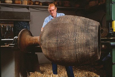 Fig. 14.     Ed Moulthrop turning a sculptural chalice, 1988. Photo: Paul Beswick