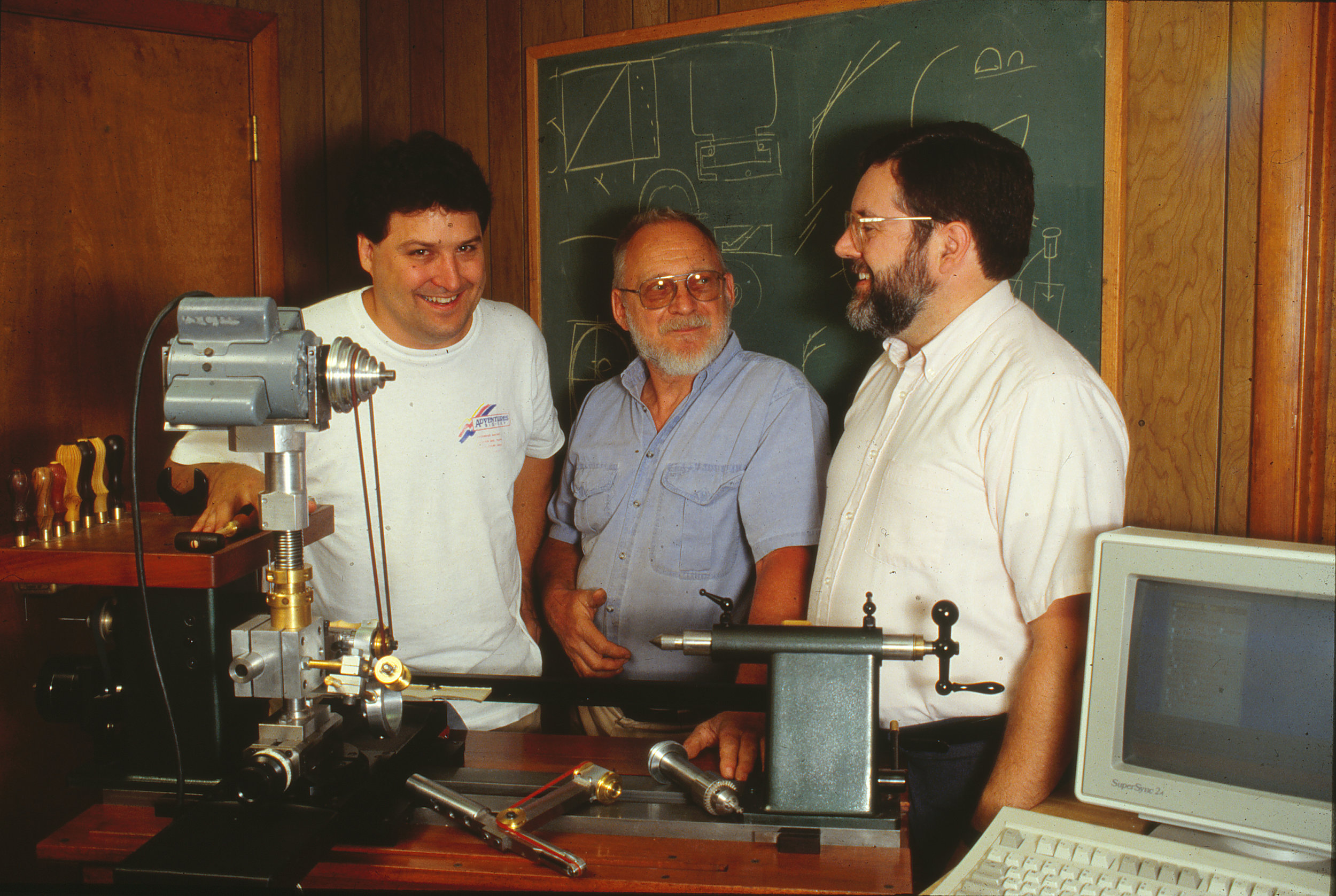 Fig. 25.  Mark Krick, Dave Hardy, and Ken Wurtzel with their HaWK Lathe, ca. 1993. Photo: Mark Krick