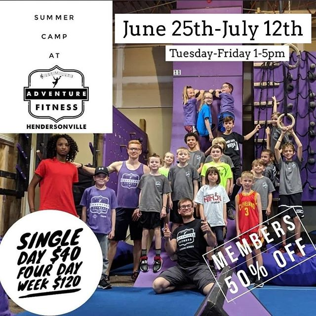Day Camps are coming back this Summer! Book before they fill up! Expect them to come home ready for a nap, and begging to go back! ⁣Ages 6-12 Pre-pay for 16 hours of Day Camps, Four Hours, Four Days in a row!⁣ A great deal with a great deal of learning, play, and socialization!⁣ Please provide a lunch and snacks that do not require refrigeration.⁣ May 28th- May 31st Camp 1pm-5pm Each Day⁣ June 4th- June 7th Camp 1pm-5pm Each Day⁣ June 14th- June 17th Camp 1pm-5pm Each Day⁣ ⁣ .⁣ .⁣ .⁣ .⁣ .⁣ #ninjawarrior #ninjatraining #ninjawarriortraining #americanninjawarrior #anw #obstacletraining #obstaclecourse #obstacles #bodyweighttraining #musiccityfit #pullups #ninjahub #abs #fit #fitness #parkour #freerunning #puresweat #athlete #adventurefitnessnashville #calisthenics #Nashville #nashvillestrengthcompany #nashvillefit #fitfam #mudrun #toughmudder #spartanrace #warriordash