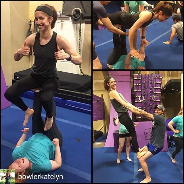 Join us every Thursday at 7pm for our begginer Acro Yoga Class. No partner required!  Reposted from @bowlerkatelyn -  Finally gave this acro yoga thing a try! I've been working on adding cross-training to my fitness routine to hopefully make me stronger and more efficient at ninja. Plus it helps when the workouts are fun! Special thanks to @suzuki_slide @walkitoffradio and @costinrachel for helping me learn the basics! You guys rock 👊🏻 - #regrann