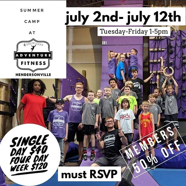 Day Camps are coming back this Summer! Book before they fill up! Expect them to come home ready for a nap, and begging to go back! ⁣Ages 6-12 Pre-pay for 16 hours of Day Camps, Four Hours, Four Days in a row!⁣ A great deal with a great deal of learning, play, and socialization!⁣ Please provide a lunch and snacks that do not require refrigeration. July 2ndth- July 5th Camp 1pm-5pm Each Day⁣ July 9th- July 12th Camp 1pm-5pm Each Day⁣ Sign up at camp.befitaf.com [MUST RSVP TO ATTEND] ⁣ .⁣ .⁣ .⁣ .⁣ .⁣ #ninjawarrior #ninjatraining #ninjawarriortraining #americanninjawarrior #anw #obstacletraining #obstaclecourse #obstacles #bodyweighttraining #musiccityfit #pullups #ninjahub #abs #fit #fitness #parkour #freerunning #puresweat #athlete #adventurefitnessnashville #calisthenics #Nashville #nashvillestrengthcompany #nashvillefit #fitfam #mudrun #toughmudder #spartanrace #warriordash