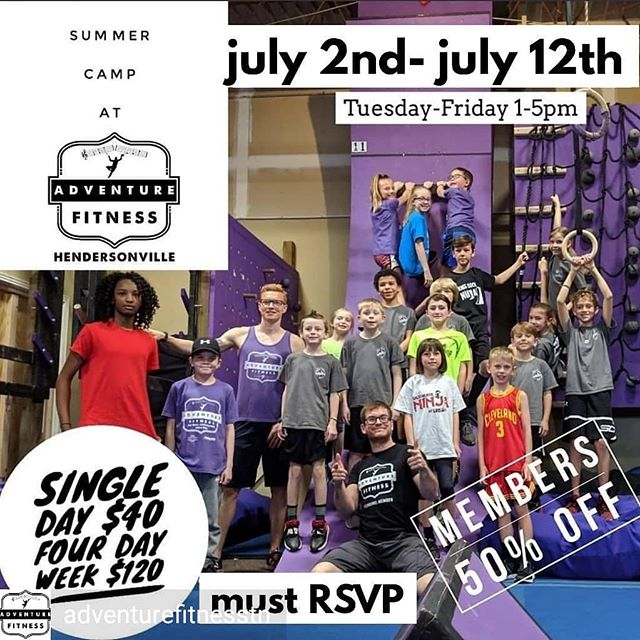 from @adventurefitnesstn -  Day Camps are coming back this Summer! Book before they fill up! Expect them to come home ready for a nap, and begging to go back! ⁣Ages 6-12 Pre-pay for 16 hours of Day Camps, Four Hours, Four Days in a row!⁣ A great deal with a great deal of learning, play, and socialization!⁣ Please provide a lunch and snacks that do not require refrigeration. July 2ndth- July 5th Camp 1pm-5pm Each Day⁣ July 9th- July 12th Camp 1pm-5pm Each Day⁣ Sign up at camp.befitaf.com [MUST RSVP TO ATTEND] ⁣ .⁣ .⁣ .⁣ .⁣ .⁣ #ninjawarrior #ninjatraining #ninjawarriortraining #americanninjawarrior #anw #obstacletraining #obstaclecourse #obstacles #bodyweighttraining #musiccityfit #pullups #ninjahub #abs #fit #fitness #parkour #freerunning #puresweat #athlete #adventurefitnessnashville #calisthenics #Nashville #nashvillestrengthcompany #nashvillefit #fitfam #mudrun #toughmudder #spartanrace #warriordash