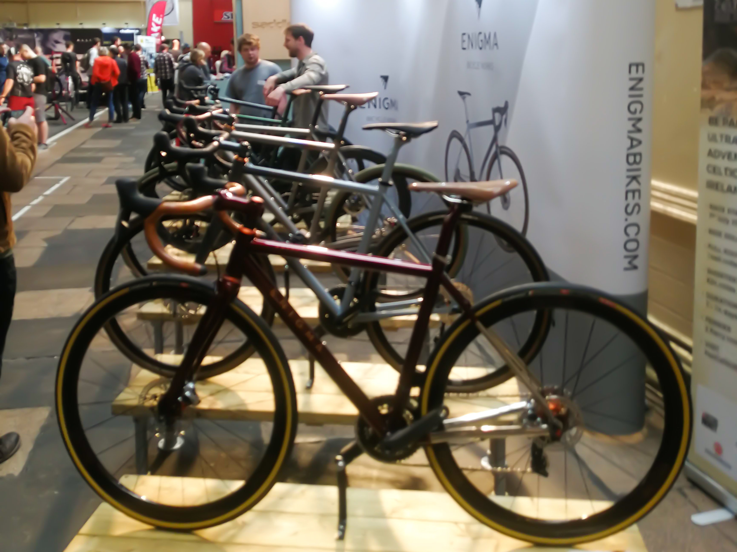 A stunning array of steel and titanium bikes on display from Enigma.