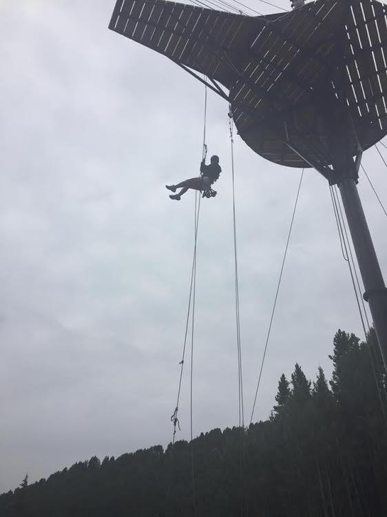 Keegan rope climbing in Colorado