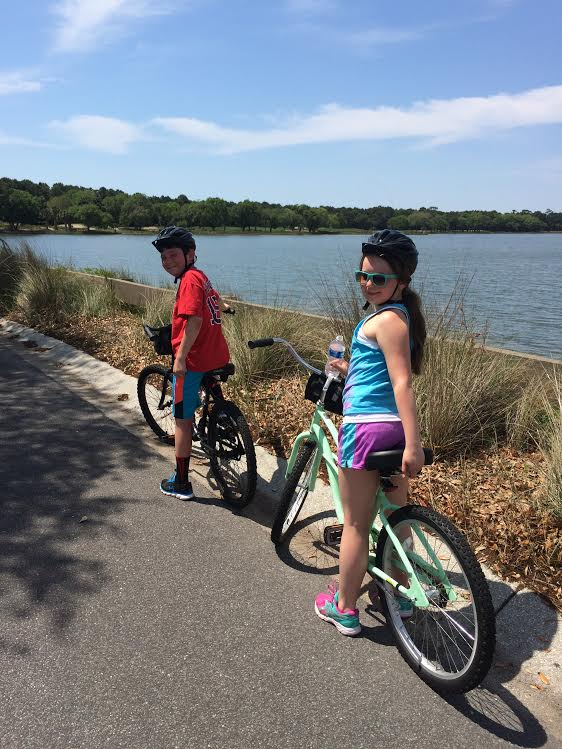 James and Caroline biking Kiawah Island, SC