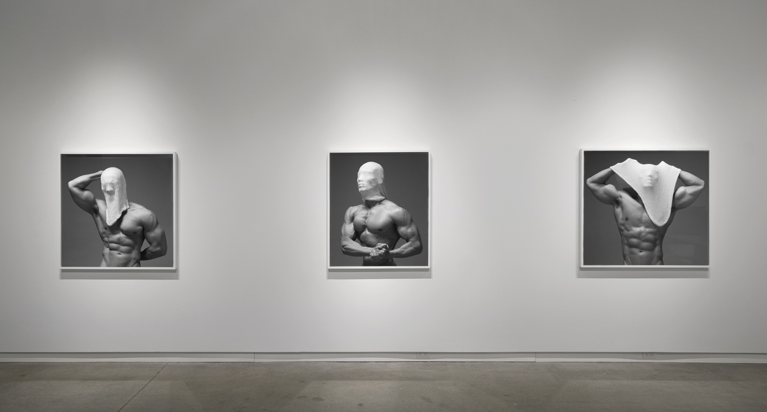 """Beside Myself  (2011), chromogenic print; all prints are 40"""" in height  Installation view of  Beside Myself  at Daniel Faria Gallery, Toronto, Canada"""