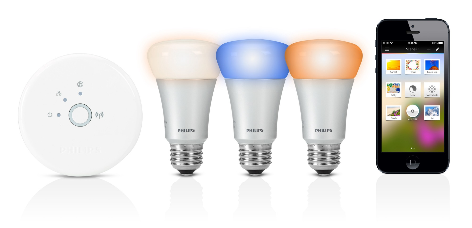 Hue smart lighting system by Philips.