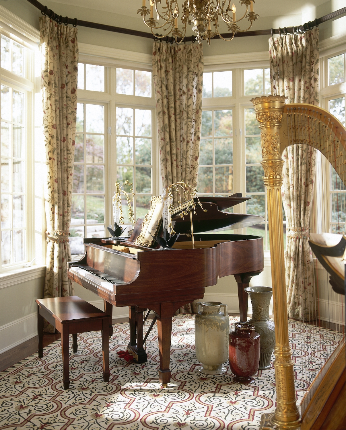 Music room. Westchester, New York. Interior design by Robin Baron Design. Photography by Phillip Ennis. From the book  Your Creative Haven  by Donald M. Rattner (Skyhorse Publishing, 2019).