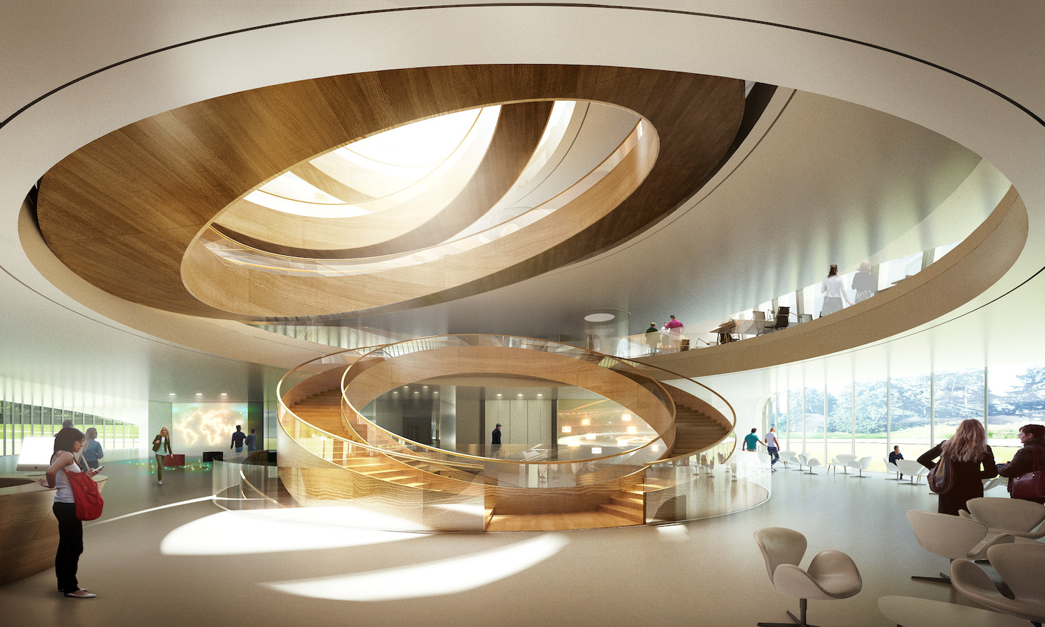 Headquarters for the International Olympic Committee. Lausanne, Switzerland. Architectural design and rendering by 3XN. Projected completion 2019.