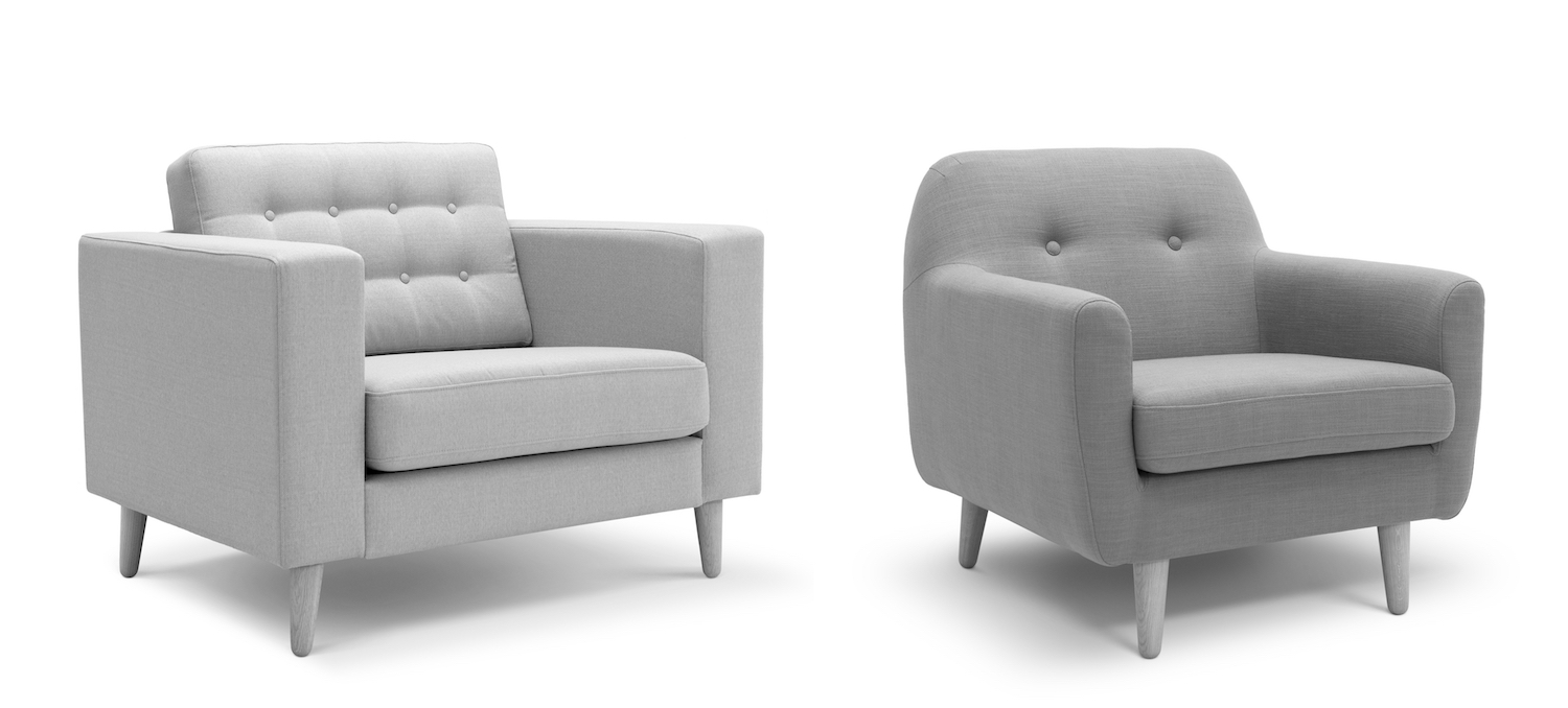 Comparison of furniture with straight versus curved contours. After Sibel S. Dazkir and Marilyn A. Read (2012). Images via Shutterstock.