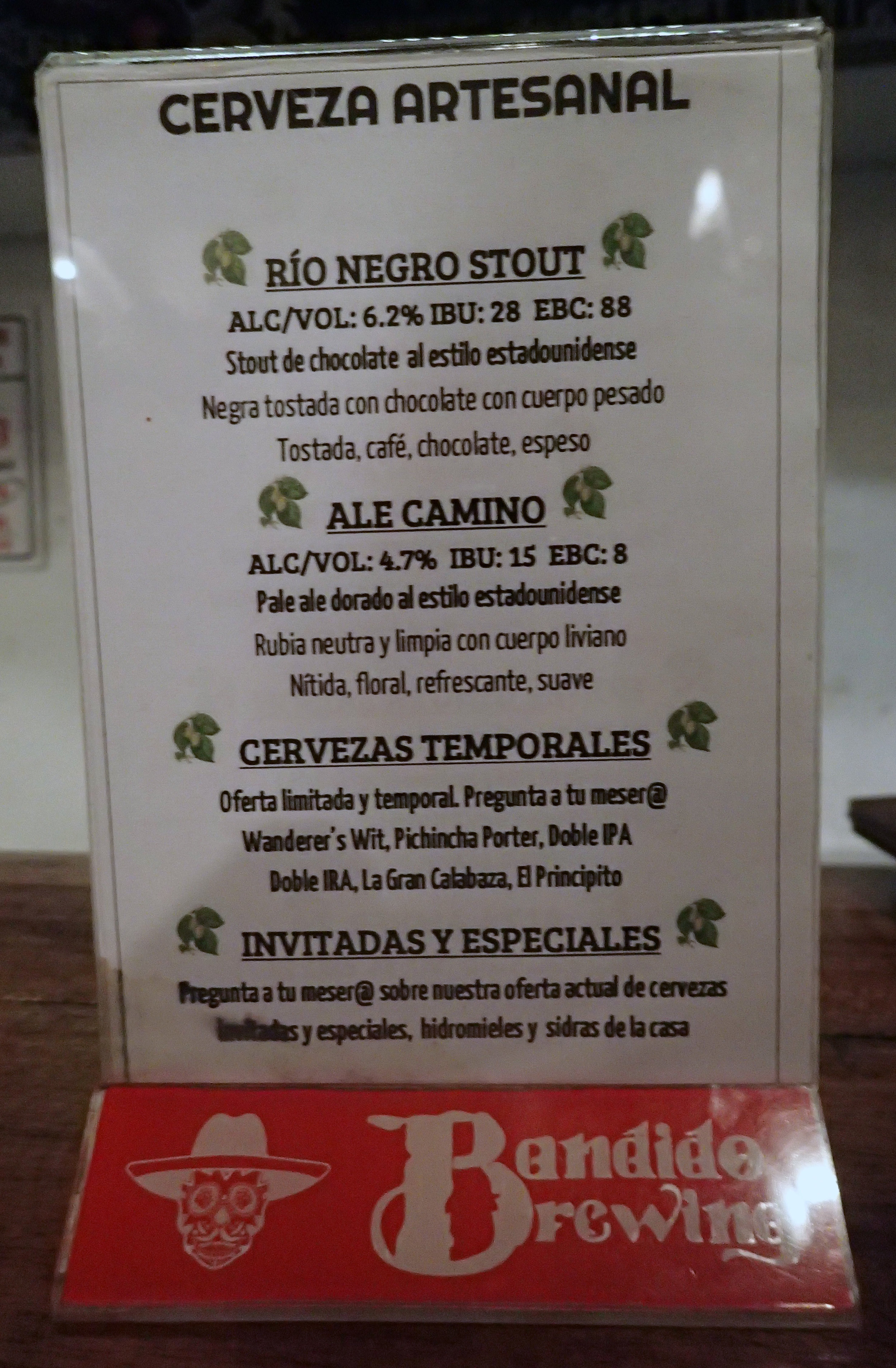 Bandido Brewing tap list.jpg