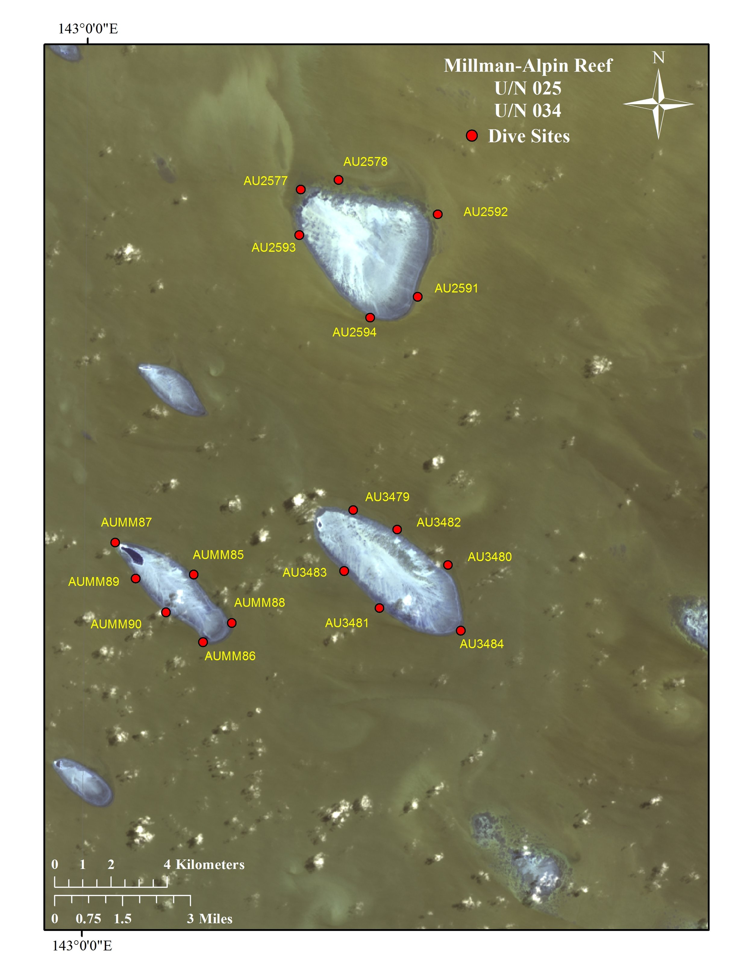 Here is a slightly zoomed in view of Milman Reef and Unnamed Reef 25.
