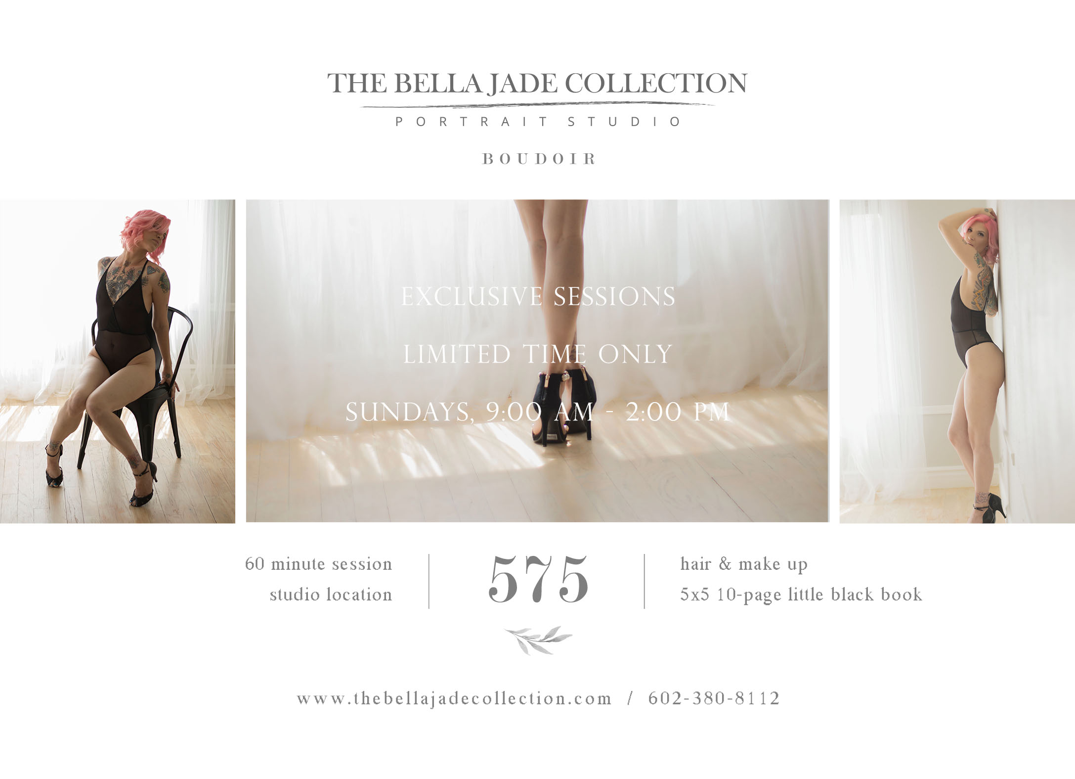 The Bella Jade Collection is a full service photography studio located in Gilbert with top rated Phoenix Boudoir Photographer that specializes in sexy photoshoots, tasteful lingerie boudoir photography serving the Phoenix, Chandler, Mesa, Gilbert area. Exclusive sessions include hair and make up, private studio location, and a little black book.