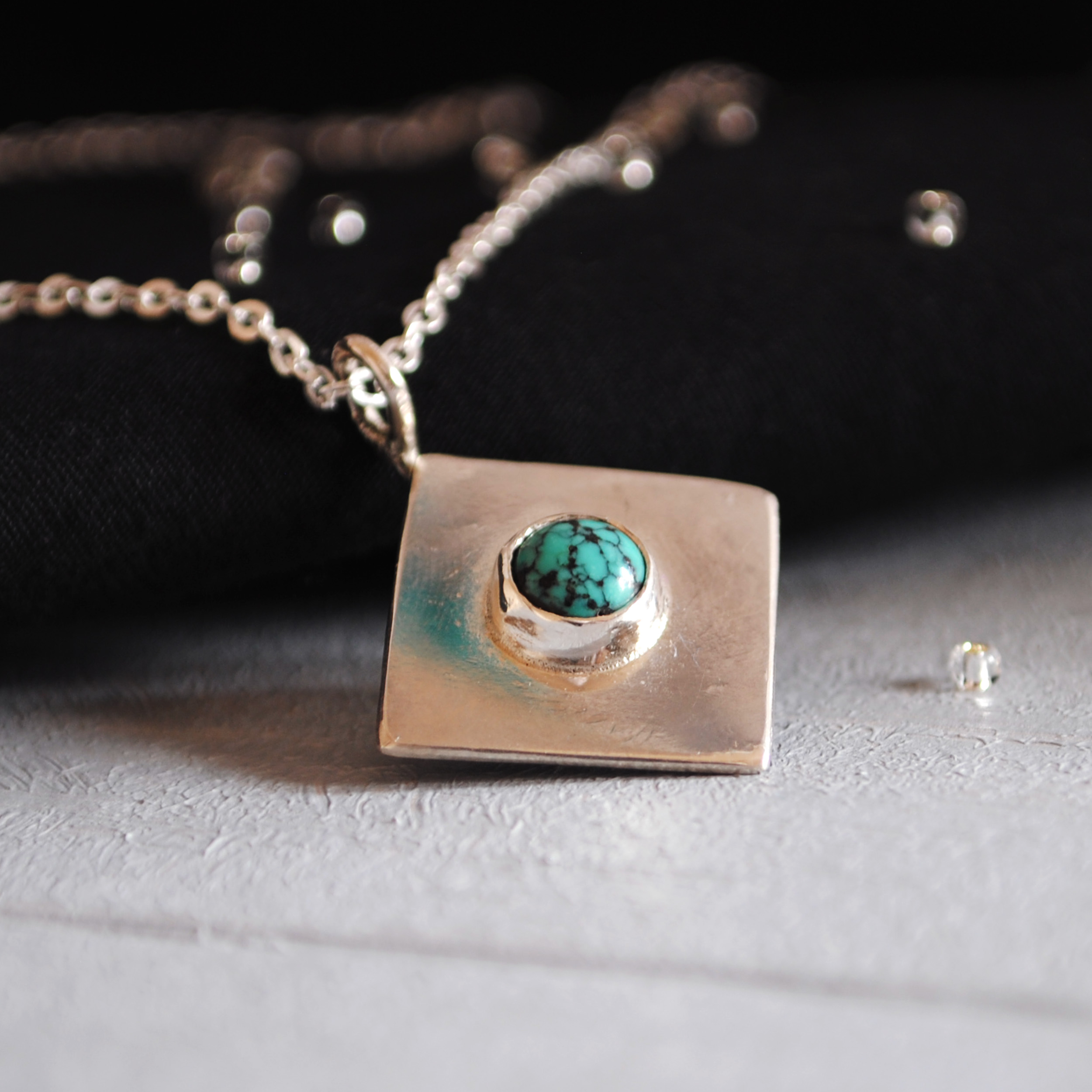 Sterling Silver Turquoise Pendant   Custom Design
