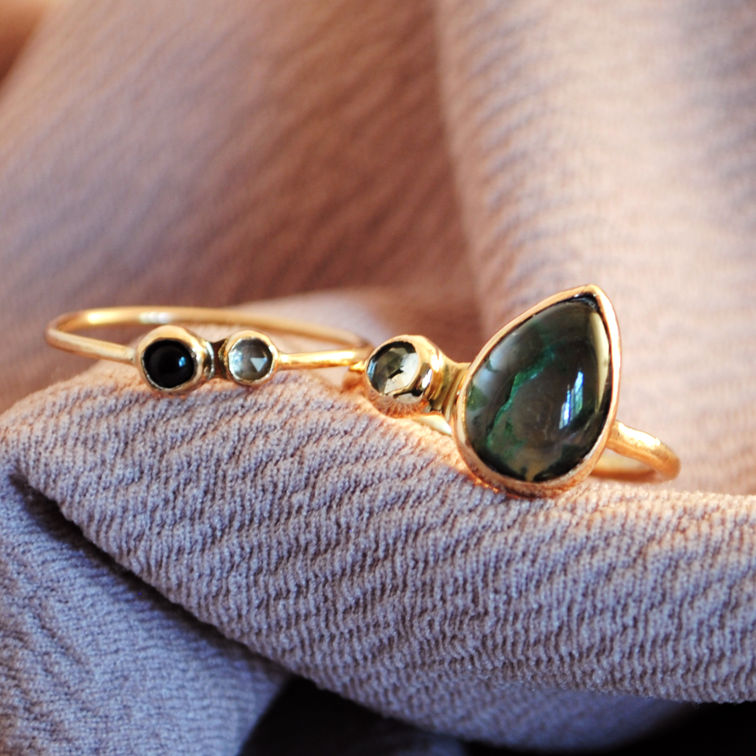 Moss Agate Stacking Rings with Black Onyx and White Topaz   Custom Design