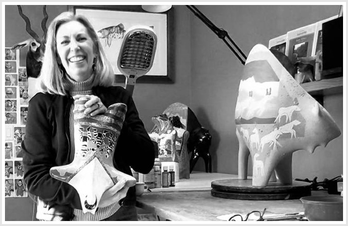 Santa Fe sculptor Rebecca Tobey with some of her first ceramic creations in nearly a decade.