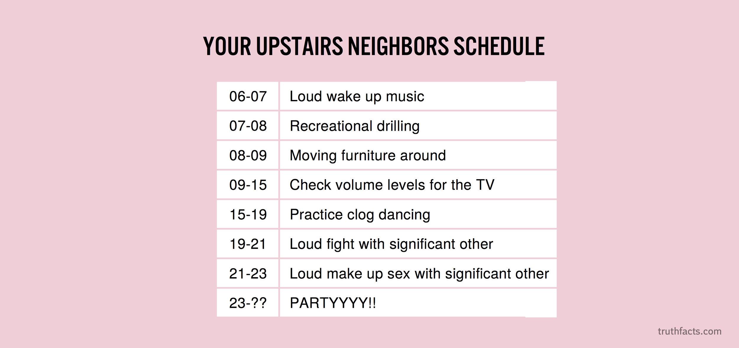Your upstairs neighbors schedule
