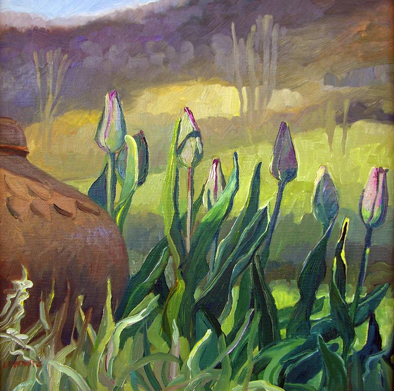 New Tulips  12 x 12  oil on canvas  $750.jpg