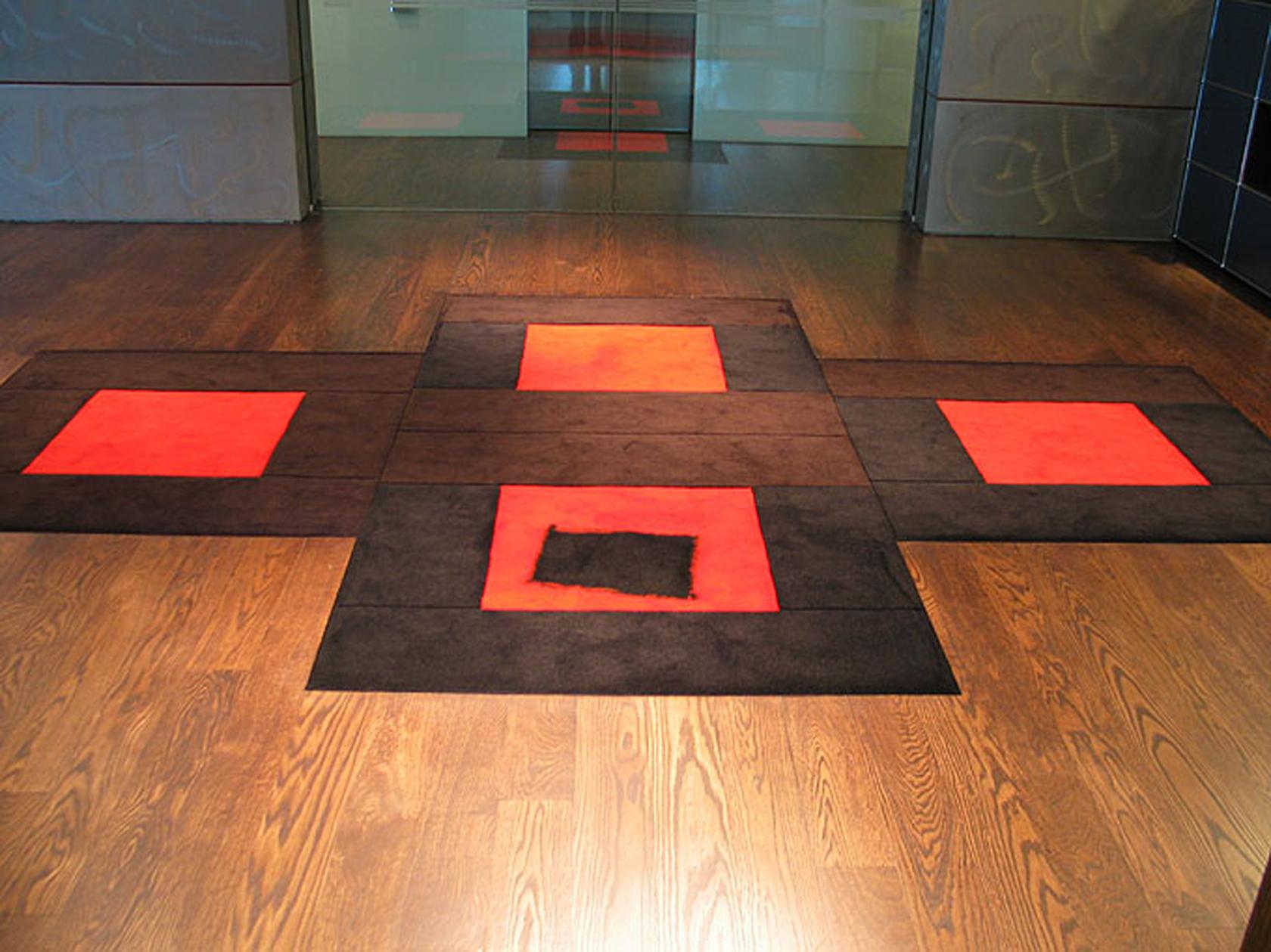 Black Cross Red Square   design Ralph Hotere