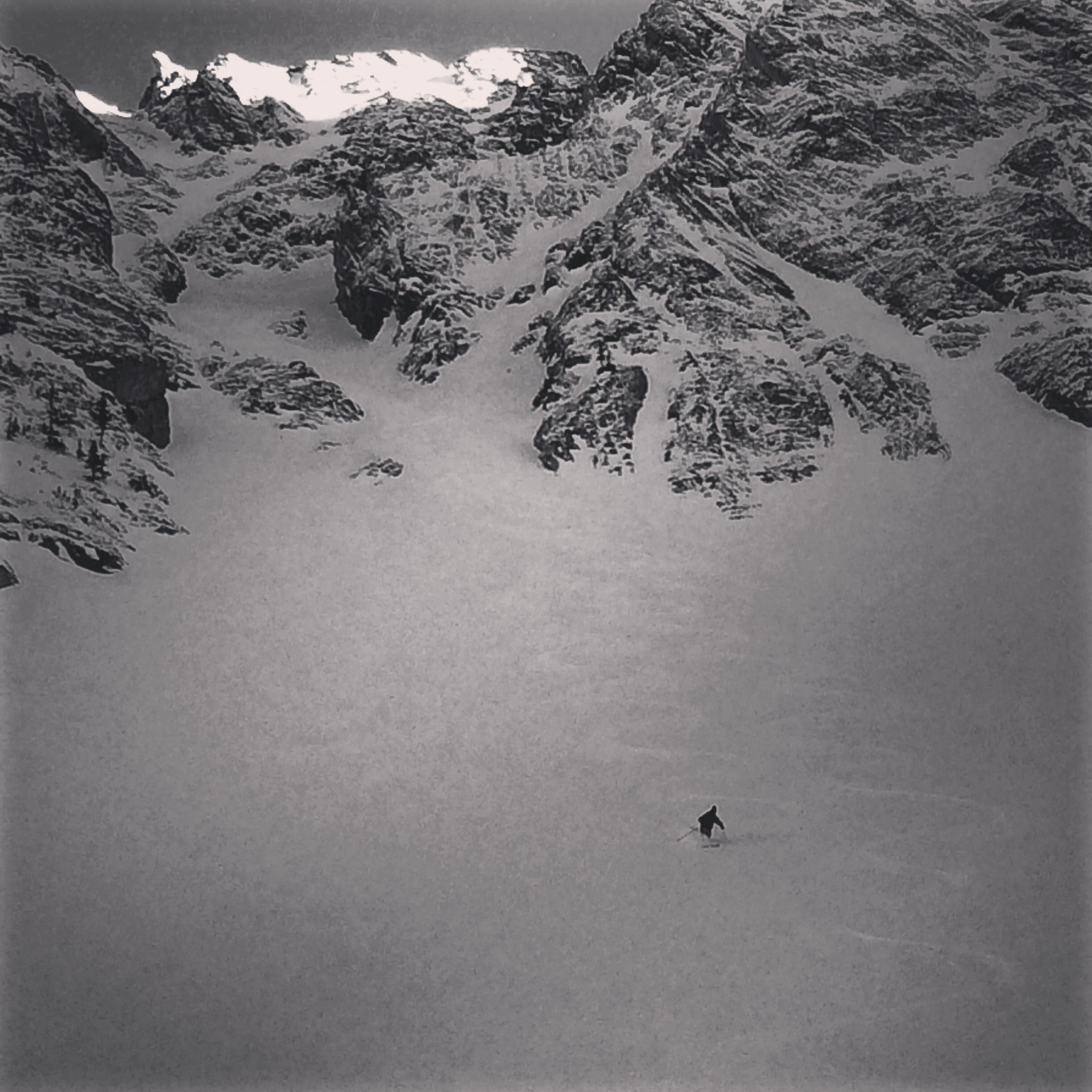 Skiing the lower fans below the north couloir