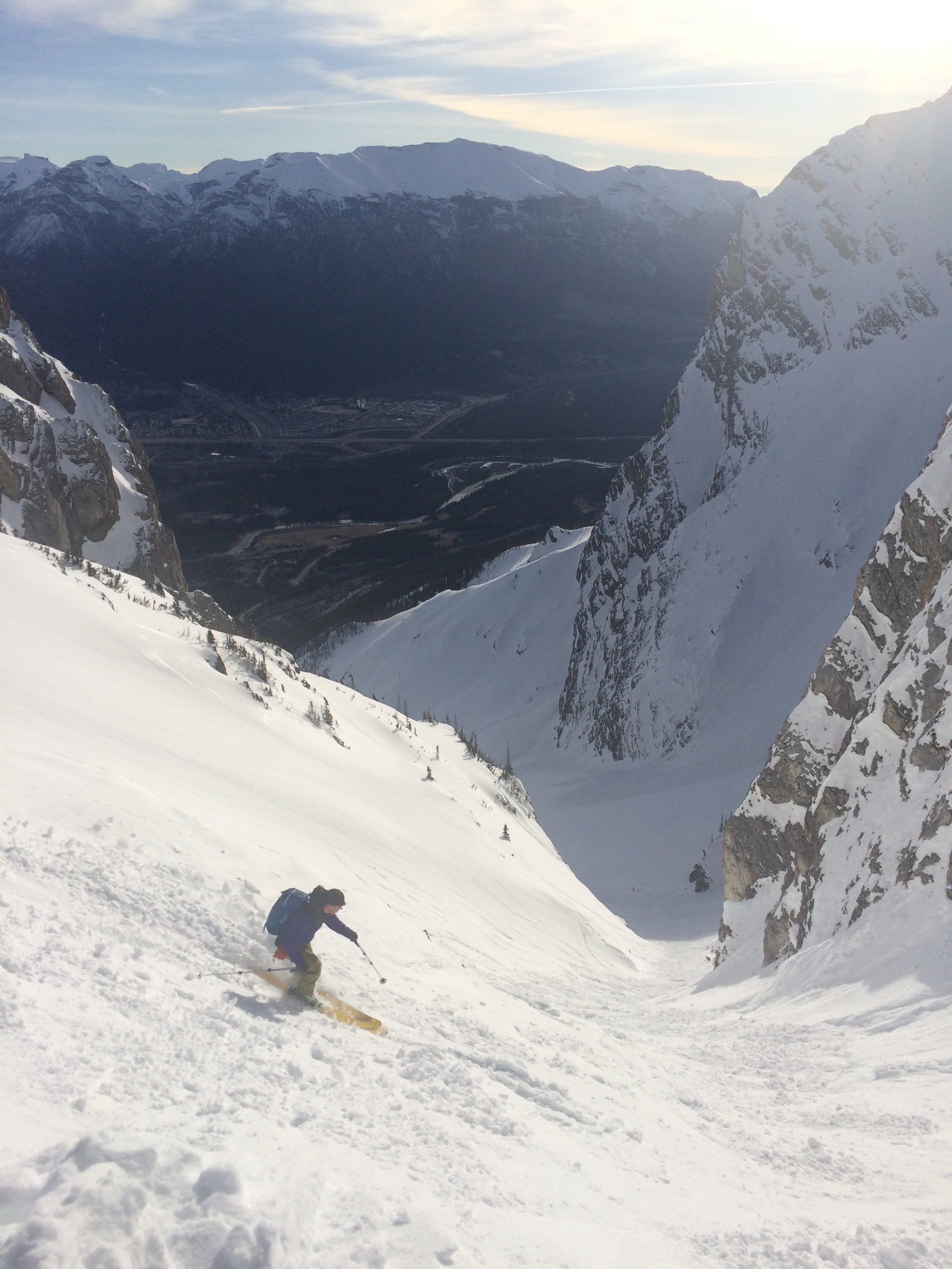 Looking down Canmore Couloir