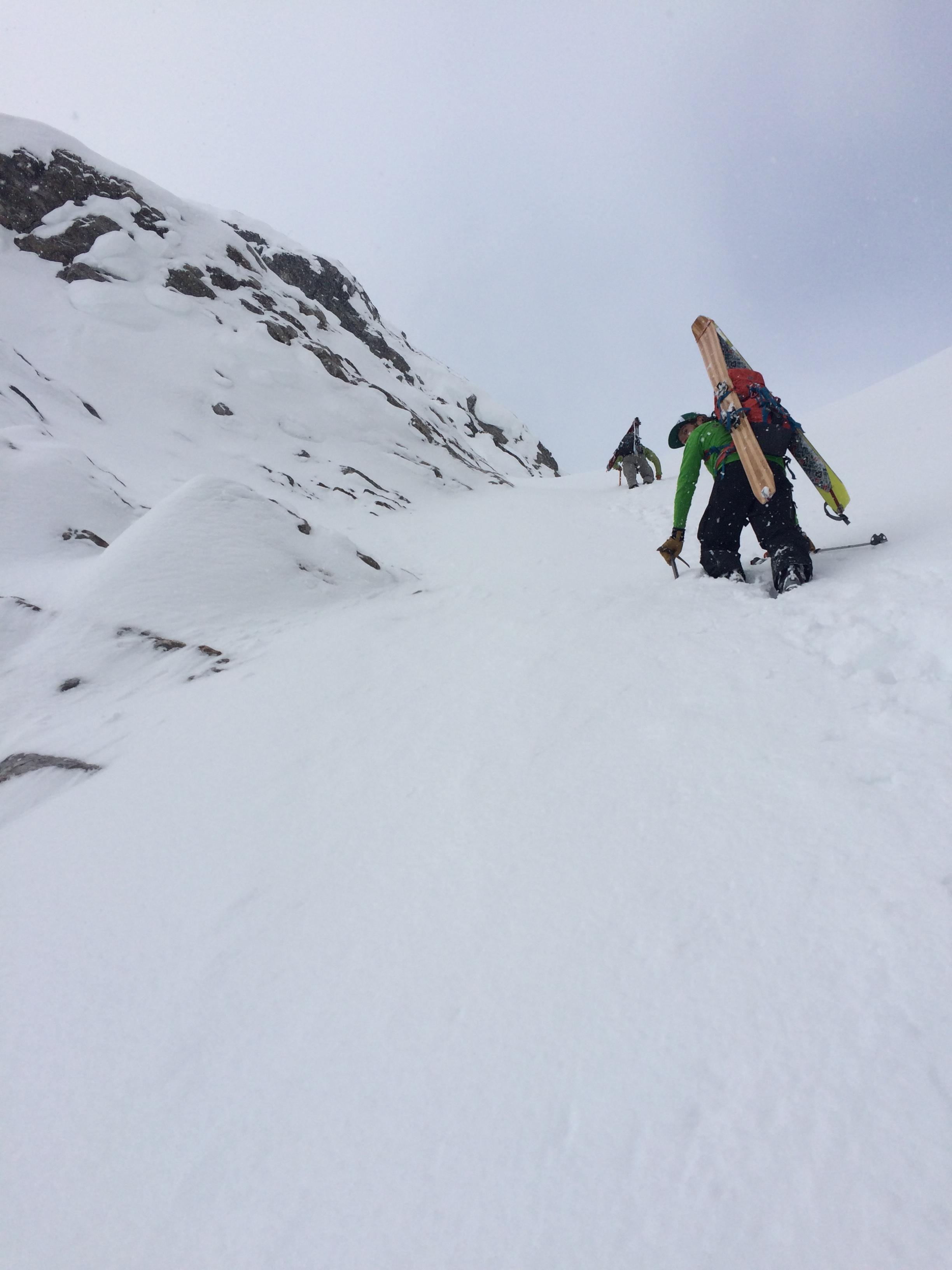 Bootpacking through the steep crux