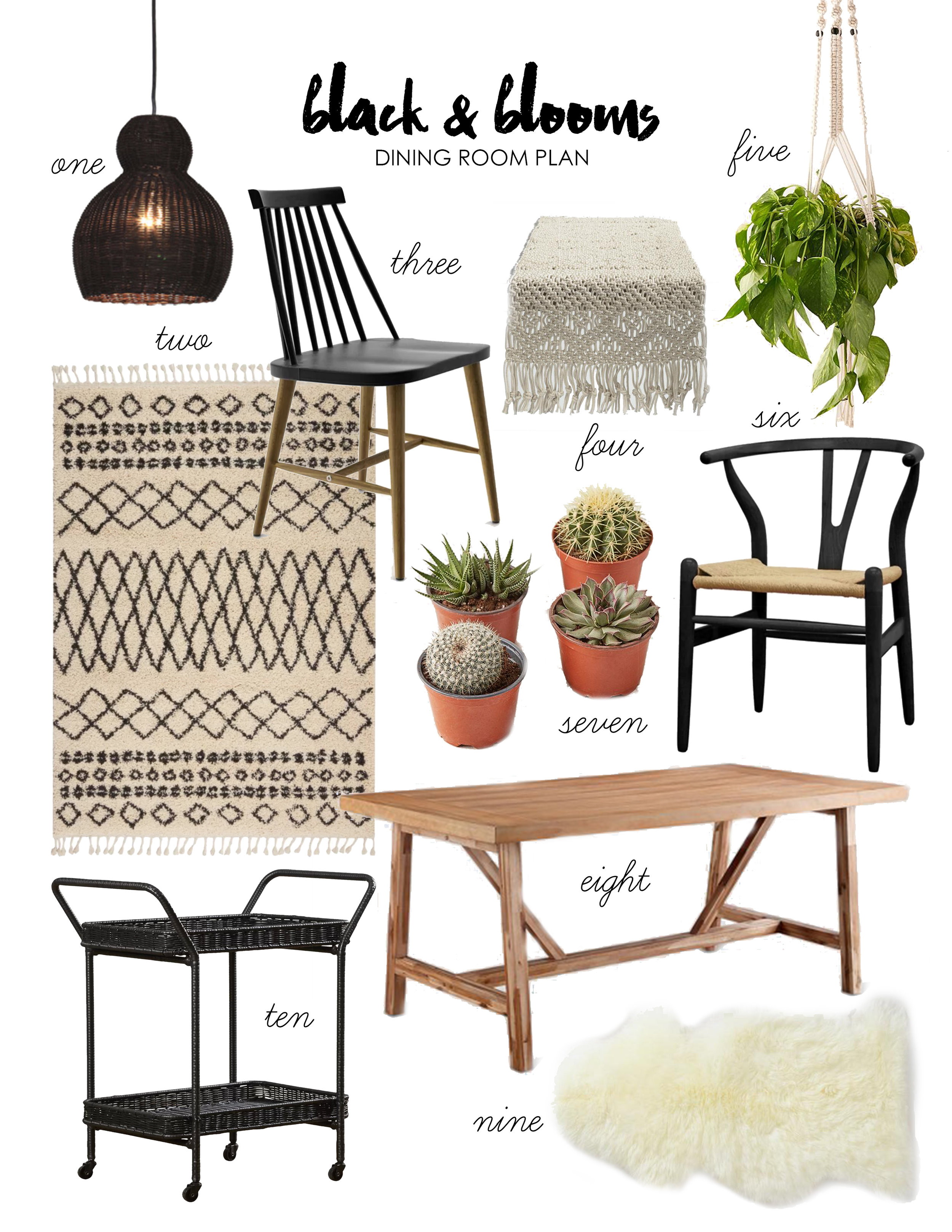 black & blooms dining room plan